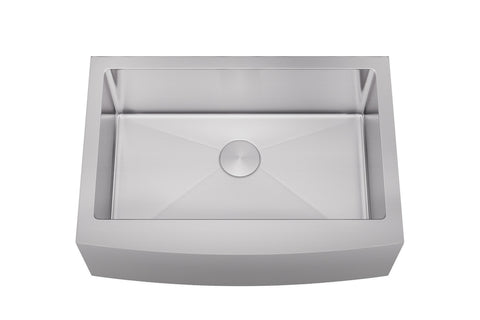 "Sinks - Allora KH-3021F-R15 30"" X 21"" X 10"" Undermount Single Large Bowl Stainless Steel Farmhouse Kitchen Sink"