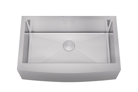 "Sinks - Allora KH-3321F-R15 33"" X 21"" X 10"" Undermount Single Large Bowl  Stainless Steel Farmhouse Kitchen Sink"