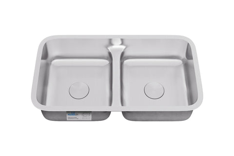 "Allora USA - LD-3218 Kitchen Sink - 32"" x 18"" x 8"" Undermount Low Divider Double Bowl 18 gauge Stainless Steel Kitchen Sink - KralSu Sink and Faucet Supplies"