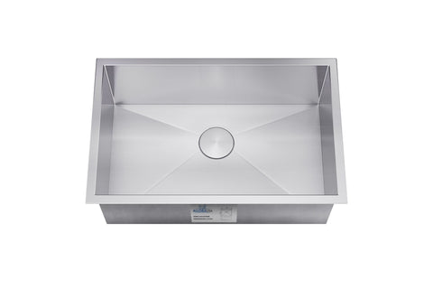"Allora USA - KH-2318 - 23"" x 18"" x 10"" Handmade Undermount Single Bowl Stainless Steel Kitchen Sink - KralSu Sink and Faucet Supplies"