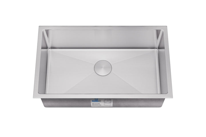 "Allora USA - KH-3018-R15 - 30"" x 18"" x 10"" Undermount Bowl Handmade Stainless Steel Kitchen Sink - KralSu Sink and Faucet Supplies"