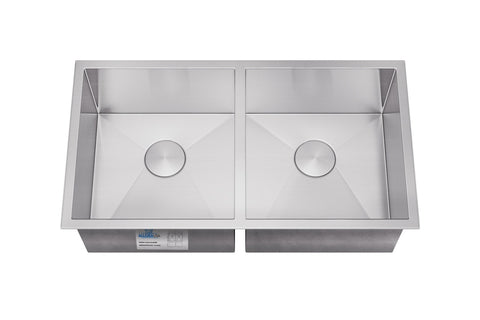 "Allora USA - KH-3318 - 33"" x 18"" x 10"" Undermount Double Bowl Handmade Stainless Steel Kitchen Sink - KralSu Sink and Faucet Supplies"
