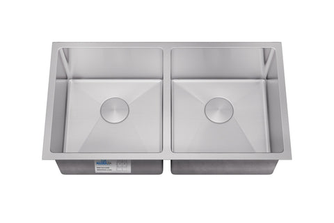 "Allora USA - KH-3318-R15 - 33"" x 18"" x 10"" Undermount Double Bowl Handmade Stainless Steel Kitchen Sink - KralSu Sink and Faucet Supplies"