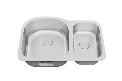 "Allora USA - KSN-2131 - 31"" x 21"" x 9/7"" Undermount 70/30 Double Bowl Stainless Steel Kitchen Sink - KralSu Sink and Faucet Supplies"