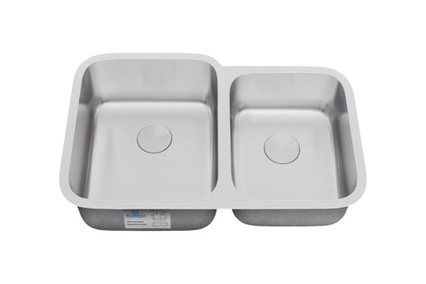 Sinks - Allora USA KSN-2132 Undermount 60/40 Double Bowl Stainless Steel Kitchen Sink