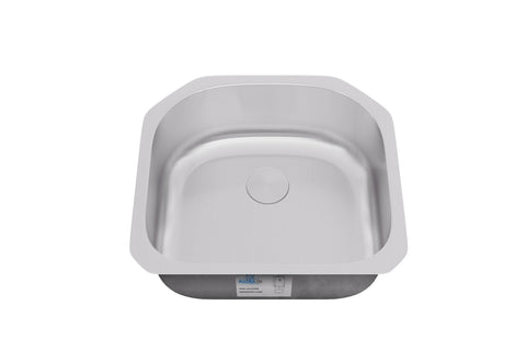 "Sinks - Allora USA KSN-2321 Undermount ""D"" Shape Single Bowl Stainless Steel Kitchen Sink 23"" X 21"" X 9"""