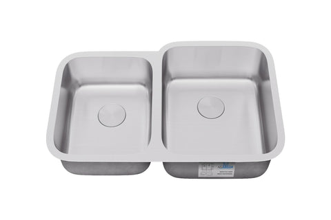"Allora USA - KSN-3221R - 32"" x 21"" x 9/8"" Undermount 40/60 Double Bowl Stainless Steel Kitchen Sink - KralSu Sink and Faucet Supplies"