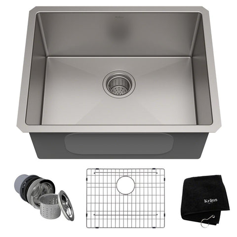 Kraus- Standart PRO 23in. Undermount Single Bowl Stainless Steel Kitchen Sink - KralSu Sink and Faucet Supplies