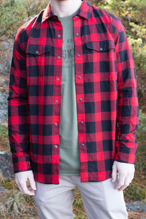 Red Long Sleeve Plaid Button-Down