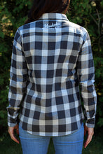 Load image into Gallery viewer, Black & White Long Sleeve Plaid Button-Down