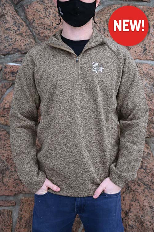 1/4 Zip Sweater - Khaki Chair Embroidery