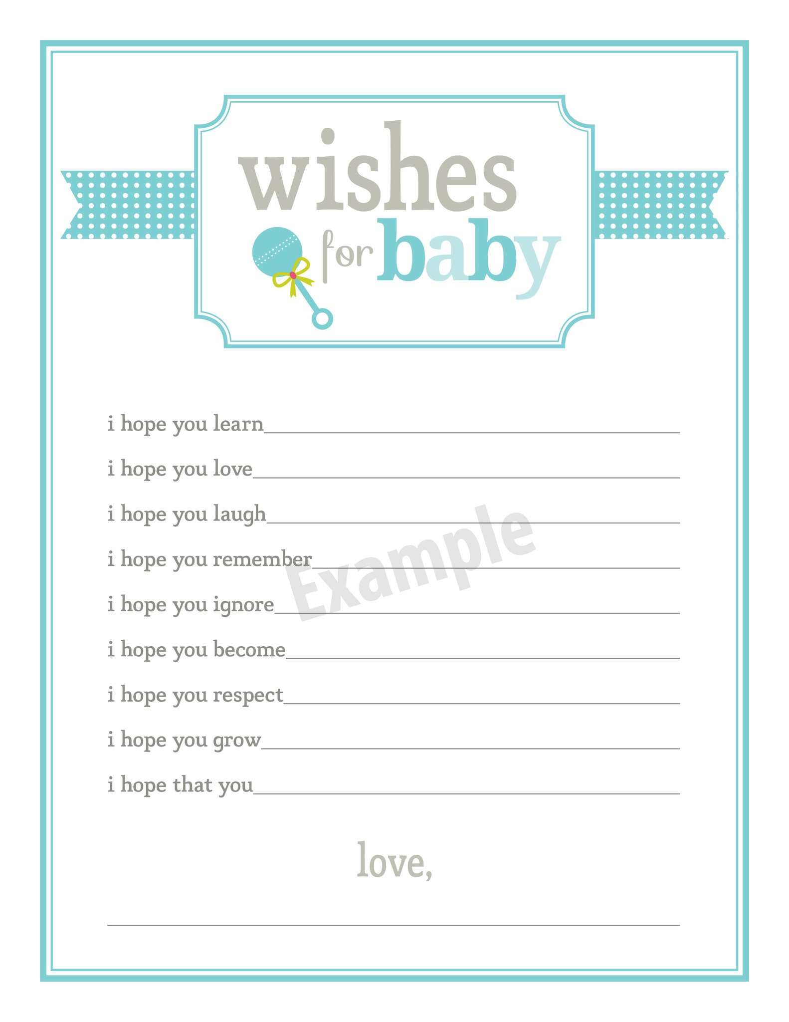 New baby shower wishes template baby shower for Wishes for baby printable template