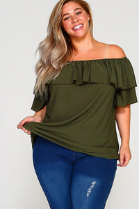 Penelope Olive Plus Size Off the Shoulder Top