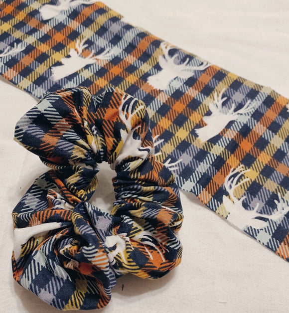 Navy Plaid Deer Scrunchy