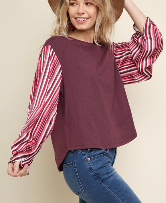Wine Striped Blouse