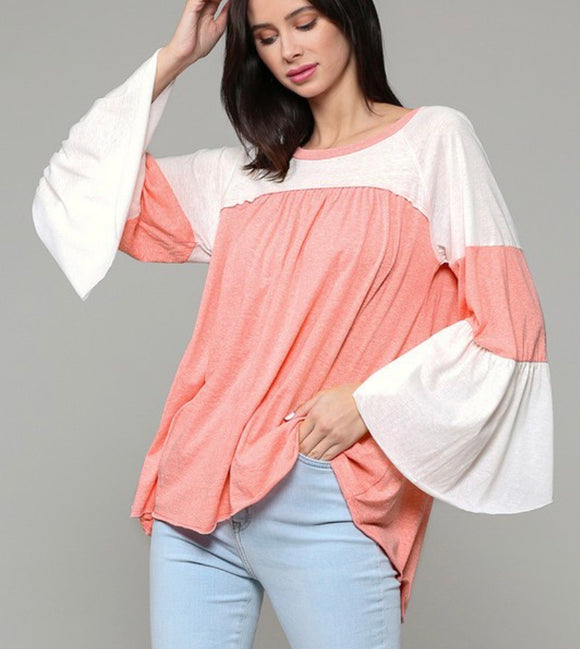 Coral Bell Sleeve Color Block Shirt