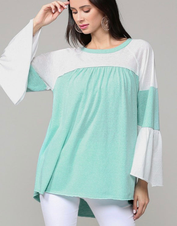 Seafoam Bell Sleeve Color Block Shirt
