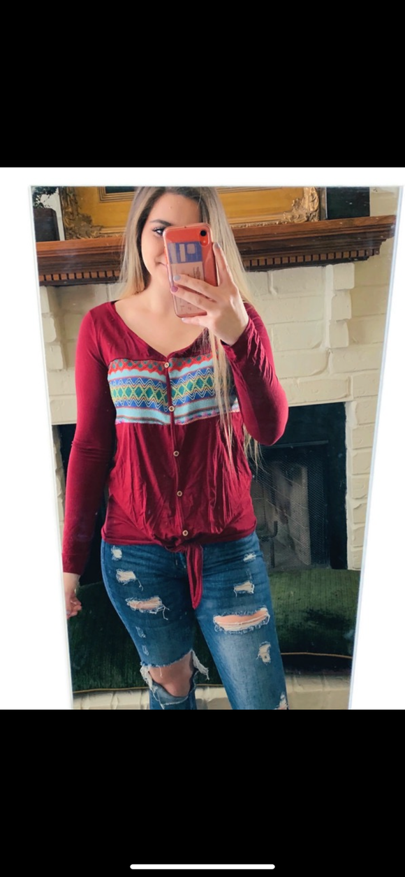 Burgundy Multi Color Tied Top
