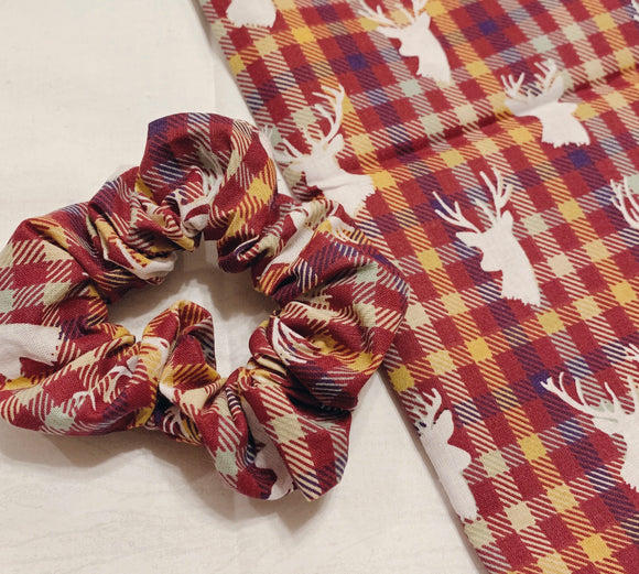 Maroon Plaid Deer Scrunchy