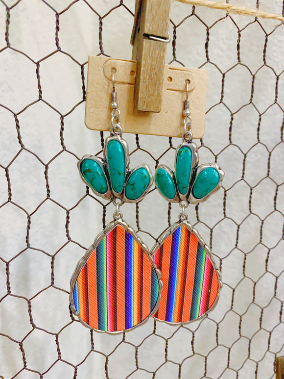 Serape Earrings with Turquoise Stones