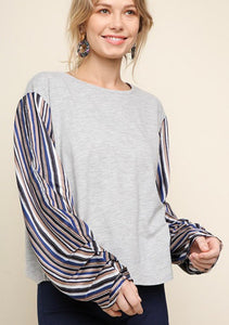 Grey Striped Blouse