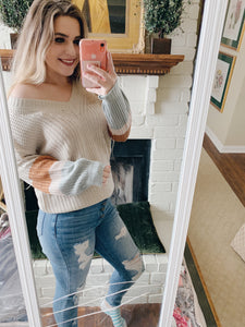 Taupe color block sleeve sweater