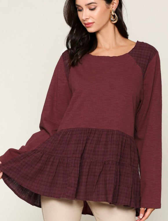 Wine Ruffled Plaid Long Sleeved Top