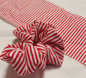 Red and White Stripe Scrunchy
