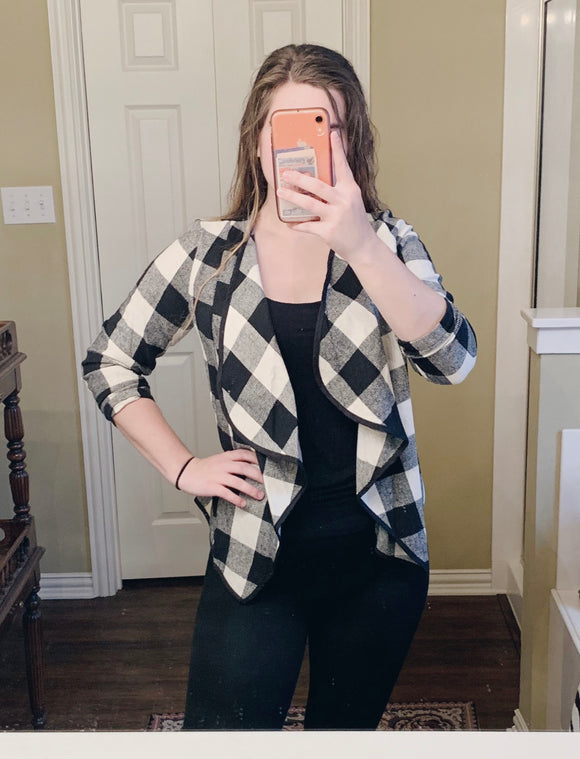 White Buffalo Plaid Cardigan