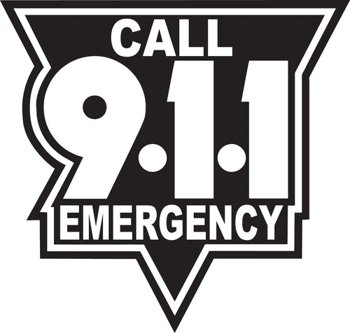 Call 911 White On Black Reflective Vinyl Decal, Firefighter Decal, Police Decal, Security Decal, Emergency Decal