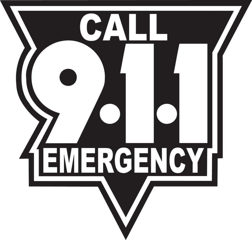 Call 911 White On Black Reflective Vinyl Decal