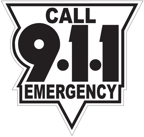 Call 911 Black On White Reflective Vinyl Decal