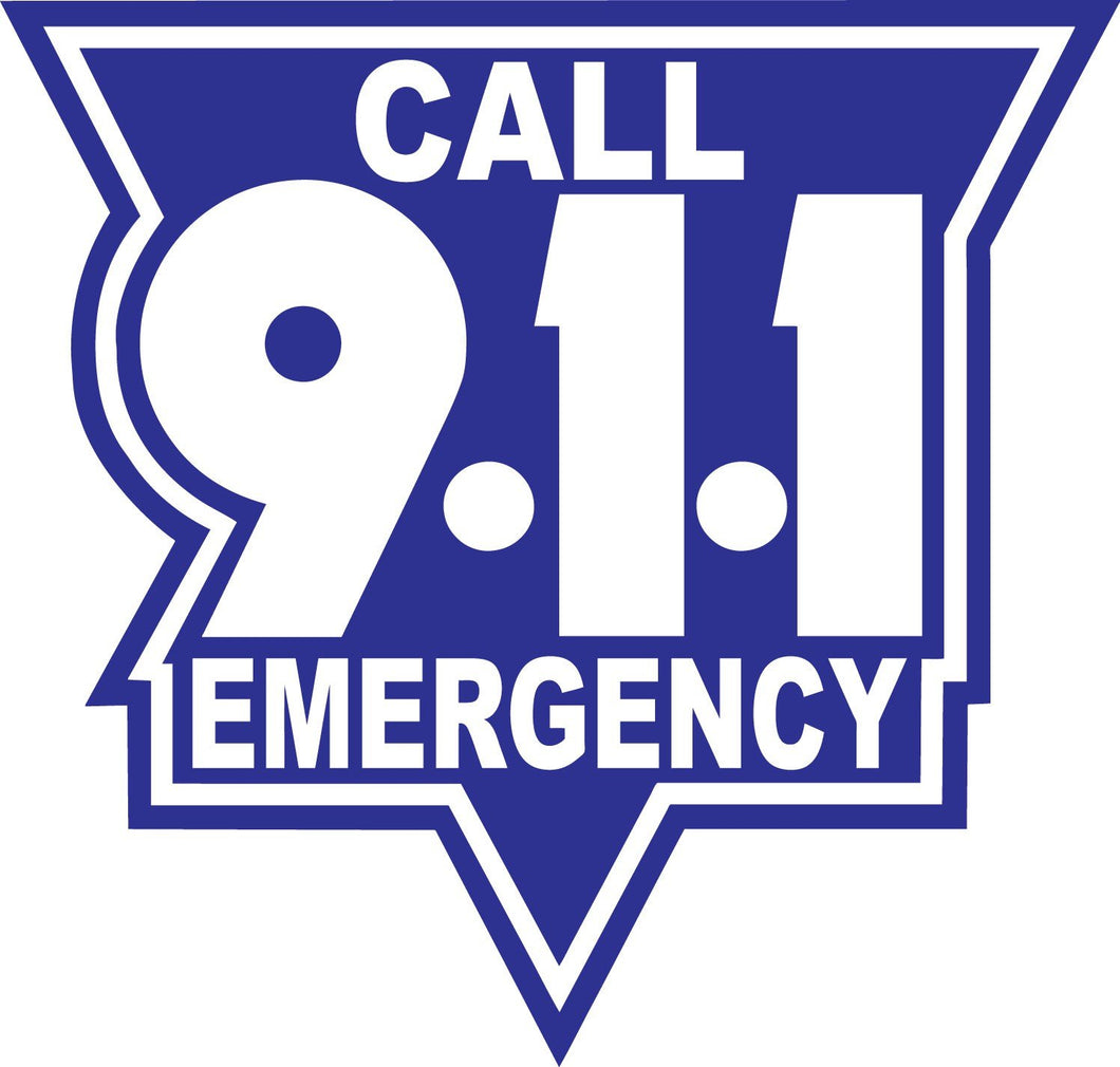 Call 911 White On Blue Reflective Vinyl Decal, Firefighter Decal, Police Decal, Security Decal, Emergency Decal