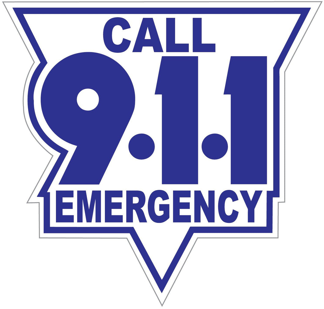 Call 911 Blue On White Reflective Vinyl Decal