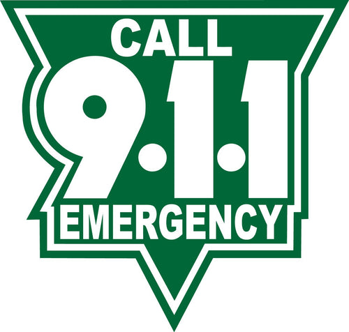 Call 911 White On Green Reflective Vinyl Decal