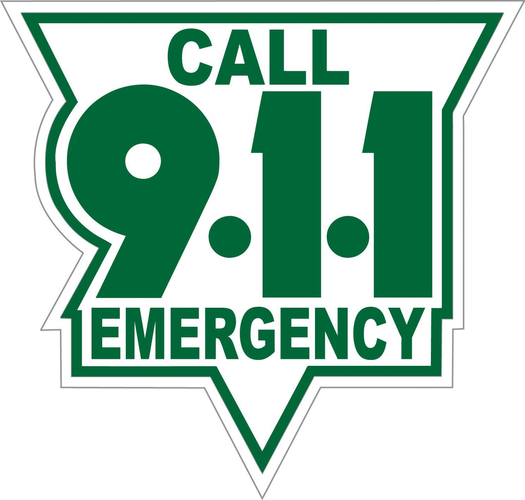 Call 911 Green On White Reflective Vinyl Decal