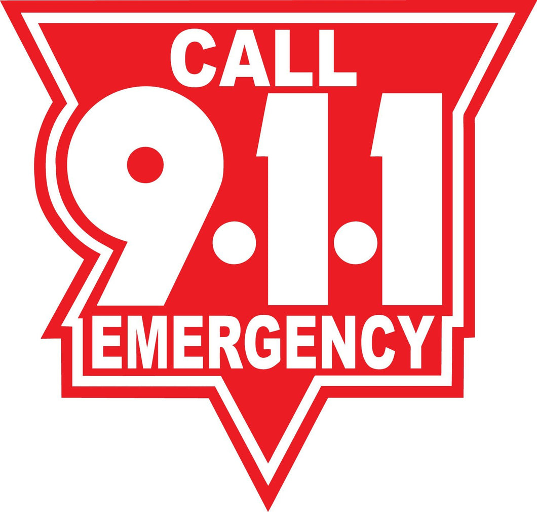 Call 911 White On Red Reflective Vinyl Decals
