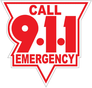 Call 911 Red On White Reflective Vinyl Decal