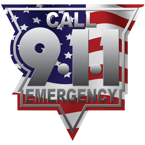 Call 911 Unite States Wavy Flag Reflective Vinyl Decal, Firefighter Decal, Police Decal, Security Decal, Emergency Decal