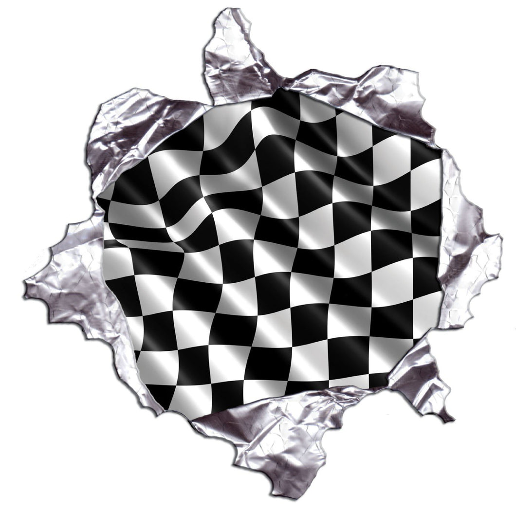 Checkered Flag Metal Rip Reflective Vinyl Decals