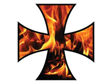 Load image into Gallery viewer, Fire & Flames Iron Cross Decals