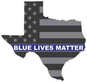 Blue Lives Matter Texas American Flag Reflective Vinyl Decal