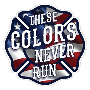 These Colors Never Run - Wavy US Flag Maltese Cross Reflective Decal