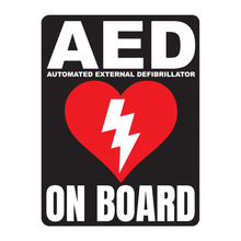 Load image into Gallery viewer, AED Automated External Defibrillator decal, AED On Board reflective vinyl decal, black color background with white text and AED Heart/Electricity logo