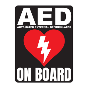 AED Automated External Defibrillator decal, AED On Board reflective vinyl decal, black color background with white text and AED Heart/Electricity logo
