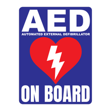 Load image into Gallery viewer, Automated External Defibrillator decal, AED On Board reflective vinyl decal, blue color background with white text and AED Heart/Electricity logo