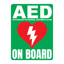 Load image into Gallery viewer, Automated External Defibrillator decal, AED On Board reflective vinyl decal, green color background with white text and AED Heart/Electricity logo