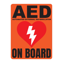 Load image into Gallery viewer, Automated External Defibrillator decal, AED On Board reflective vinyl decal, orange color background with white text and AED Heart/Electricity logo