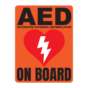Automated External Defibrillator decal, AED On Board reflective vinyl decal, orange color background with white text and AED Heart/Electricity logo