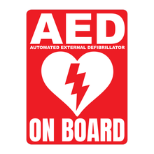 Load image into Gallery viewer, Automated External Defibrillator decal, AED On Board reflective vinyl decal, red color background with white text and AED Heart/Electricity logo